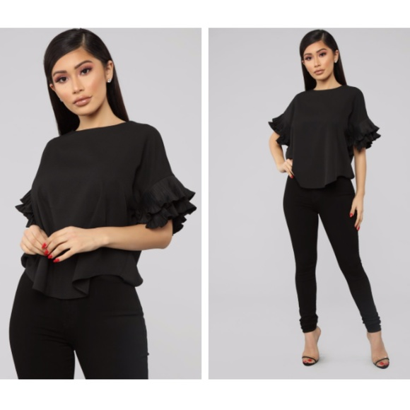 Black Ruffled Sleeve Dress Shirt